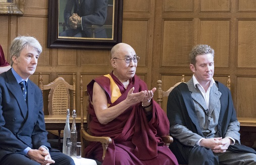 George FitzHerbert (right) with the Dalai Lama and Alex Norman,Oxford, September 14 2015. Photograph by Keiko Ikeuchi.